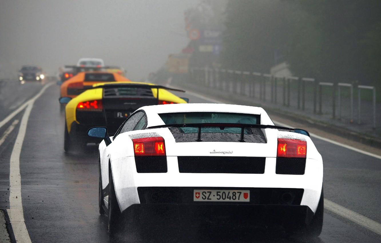 Photo wallpaper white, orange, yellow, fog, rain, black, Lamborghini, highway, white, gallardo, black, rain, diablo, yellow, murcielago, …