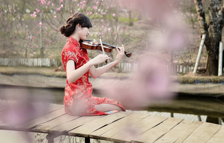 Photo wallpaper girl, violin, Asian