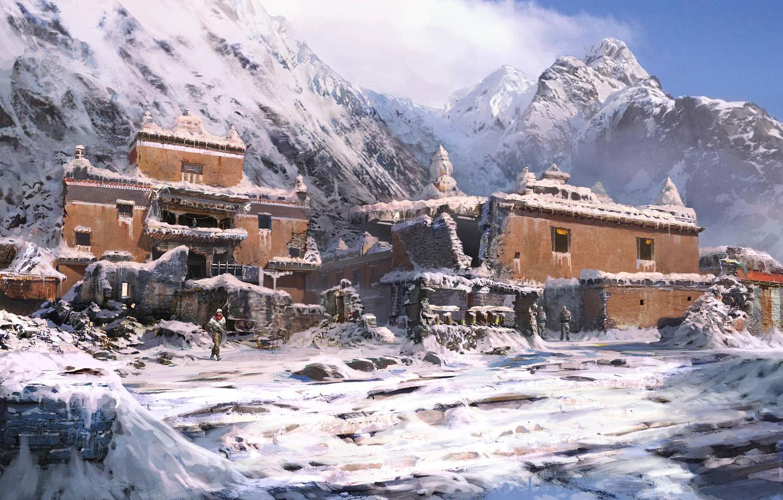 Photo wallpaper winter, mountains, castle, the building, far cry 4