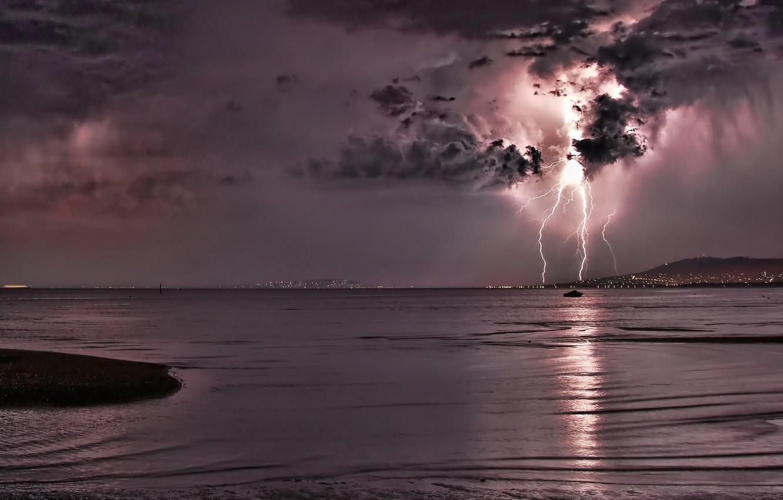 Photo wallpaper sea, night, lightning, thunder