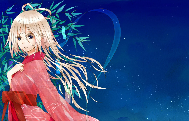 Photo wallpaper the sky, girl, stars, anime, art, kimono, vocaloid, natuiro