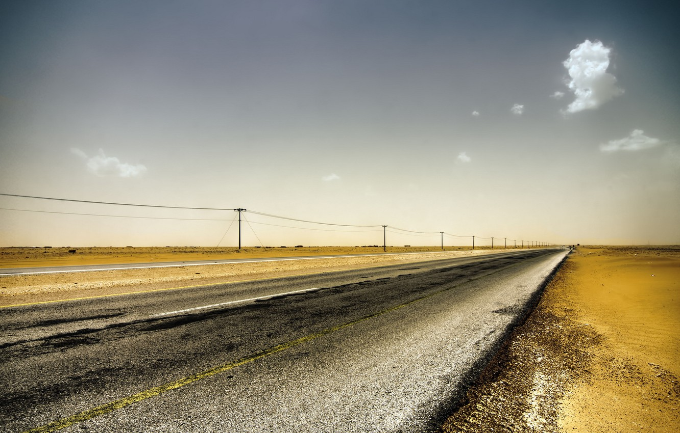 Photo wallpaper road, field, landscape