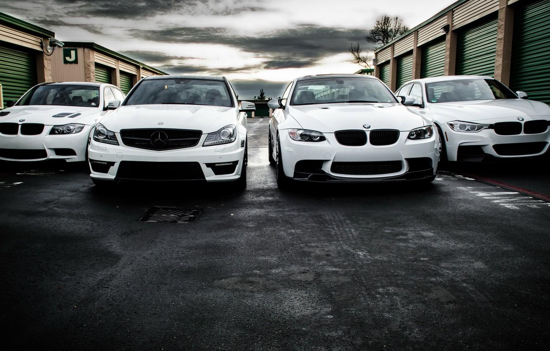 Photo wallpaper BMW, Mercedes, white, AMG, e90, 328i, F30, C63, 330