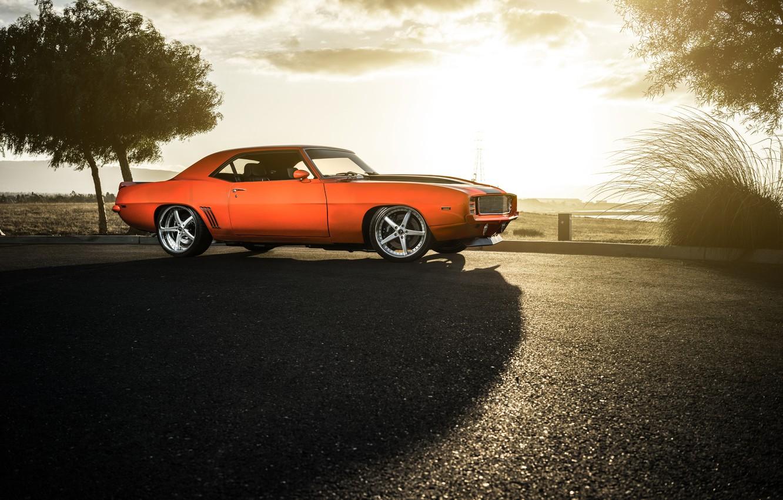 Photo wallpaper Chevrolet, 1969, Camaro, Orange, Front, Sun, Color, Wheels, Savini