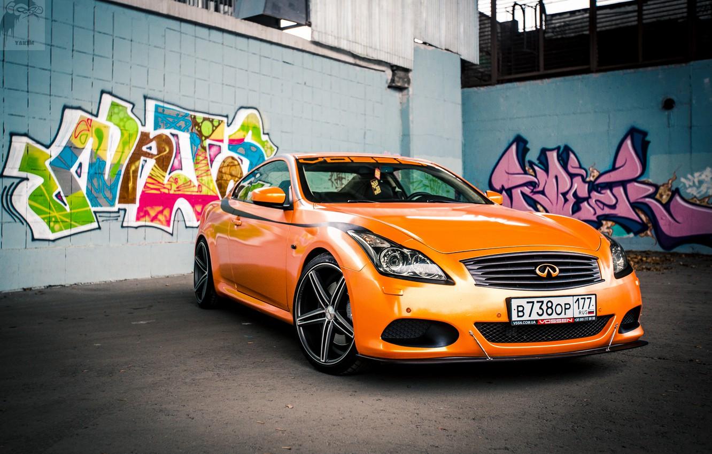 Photo wallpaper Orange, Graffiti, Infiniti, Orange, Sedan, G37