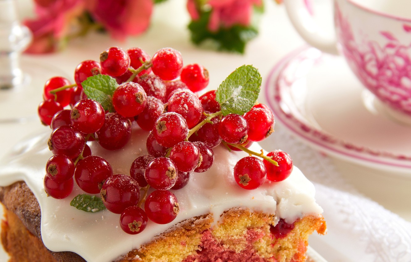 Photo wallpaper food, Cup, cake, cake, fruit, cake, dessert, food, cup, sweet, fruits, dessert, red currant, red …
