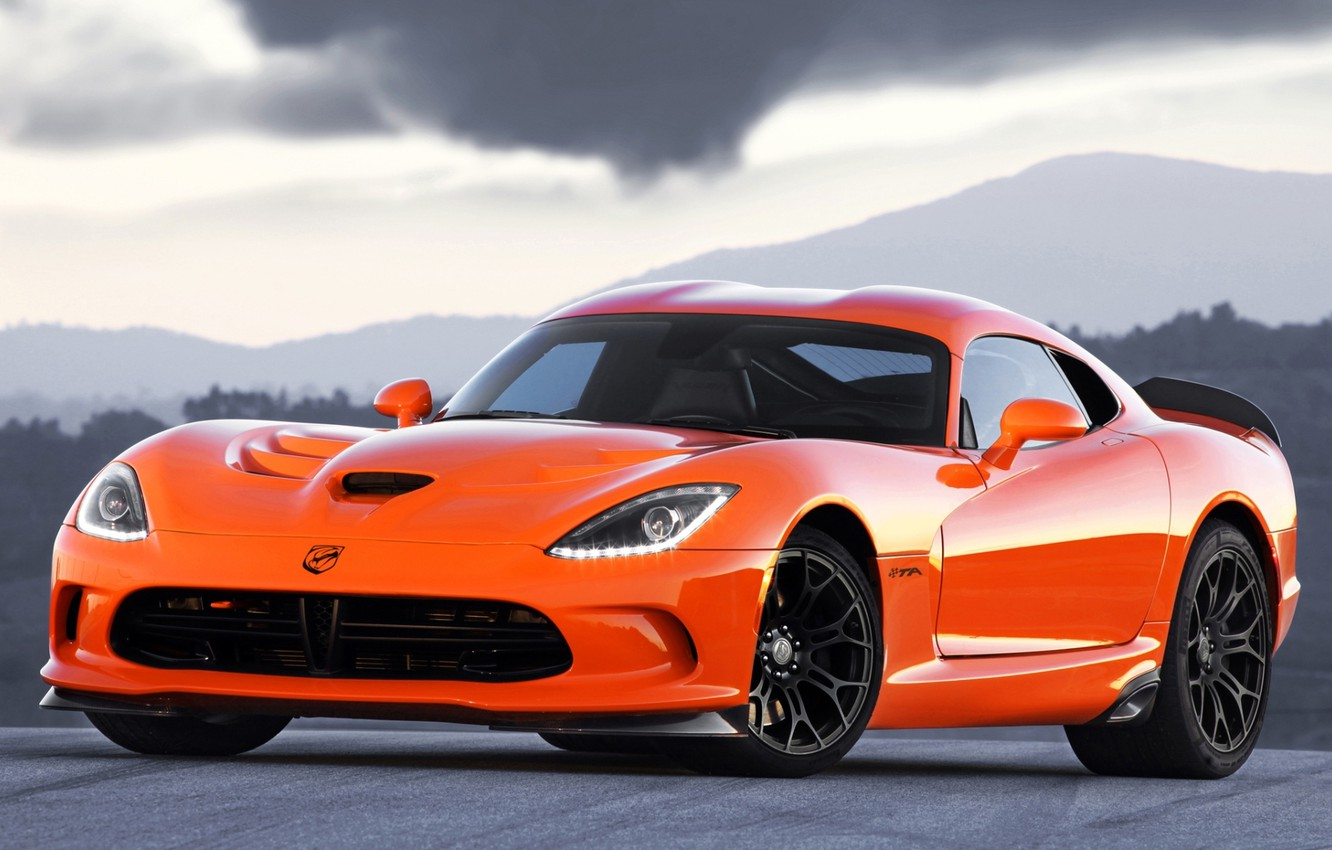 Photo wallpaper the sky, orange, Dodge, Dodge, supercar, Viper, the front, Viper, SRT