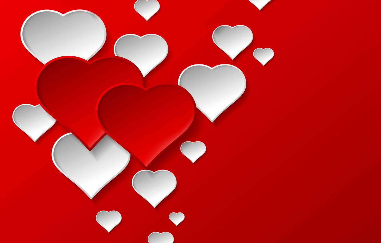 Wallpaper love, background, hearts, red ...