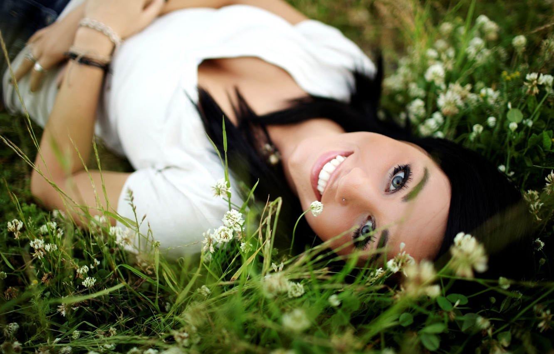 Photo wallpaper greens, grass, look, flowers, nature, face, smile, girls, brunette