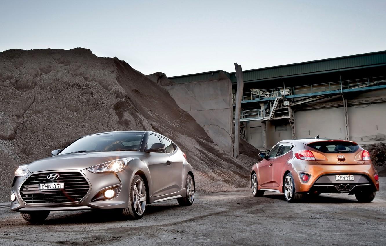 Photo wallpaper car, Hyundai, wallpapers, two, Turbo, mixed, Veloster