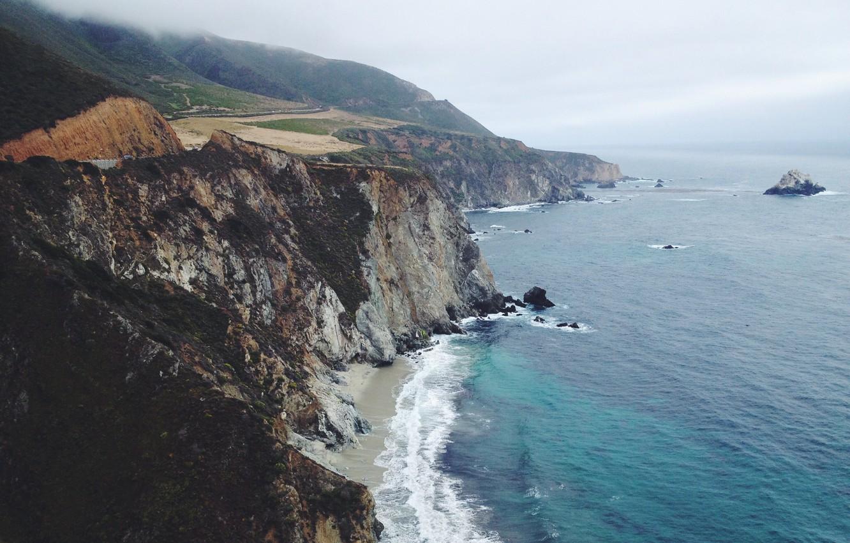 Photo wallpaper road, wave, beach, fog, rocks, CA, island, coastline, United States, San Simeon
