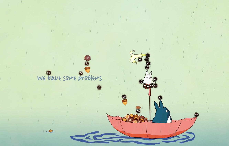Photo wallpaper rain, umbrella, my neighbor Totoro, float, my neighbor totoro, totoro, acorns