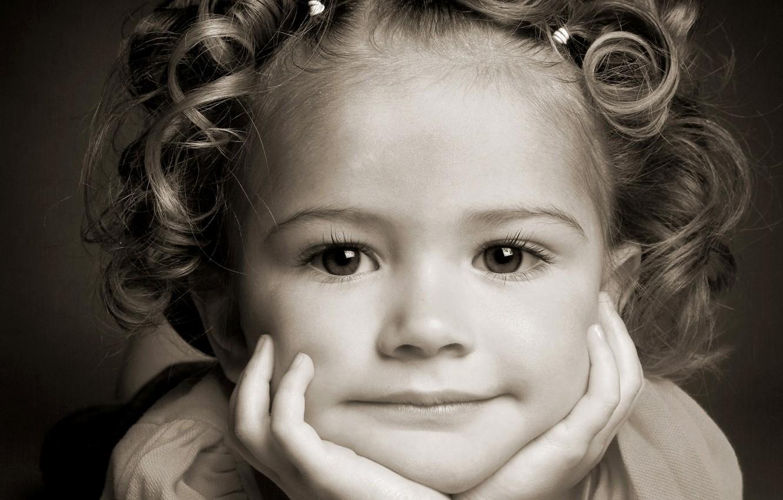 Photo wallpaper eyes, face, smile, hair, child, portrait, girl