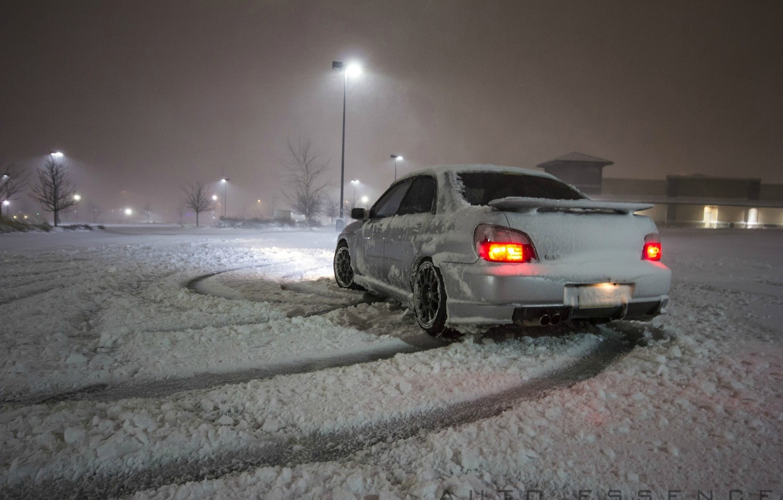 Photo wallpaper winter, light, lights, subaru, snowfall, winter, snow, Subaru