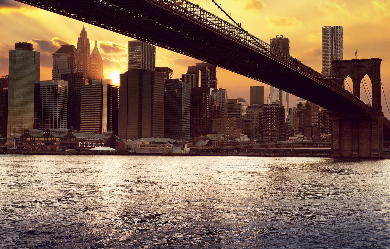 Photo wallpaper sea, water, the sun, clouds, sunset, bridge, the city, river, sunrise, the ocean, dawn, skyscrapers, …