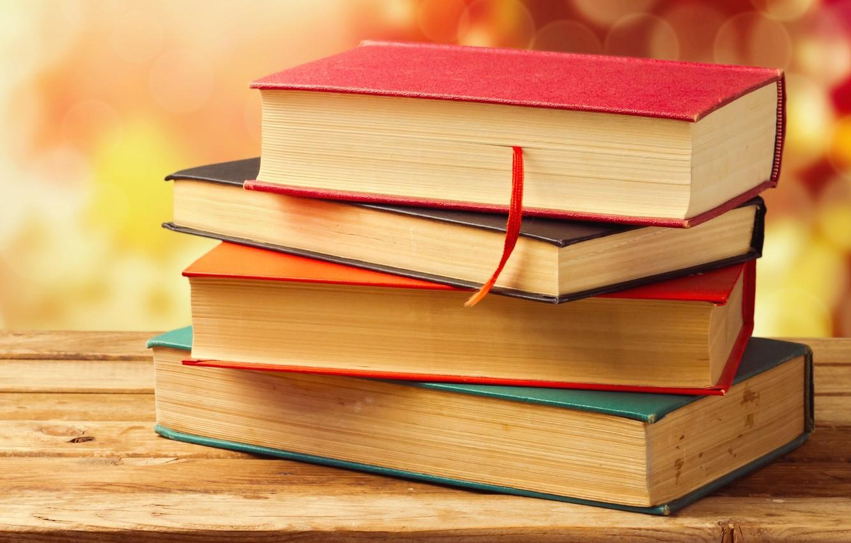 Photo wallpaper books, Board, wooden, bokeh, cover, bookmark