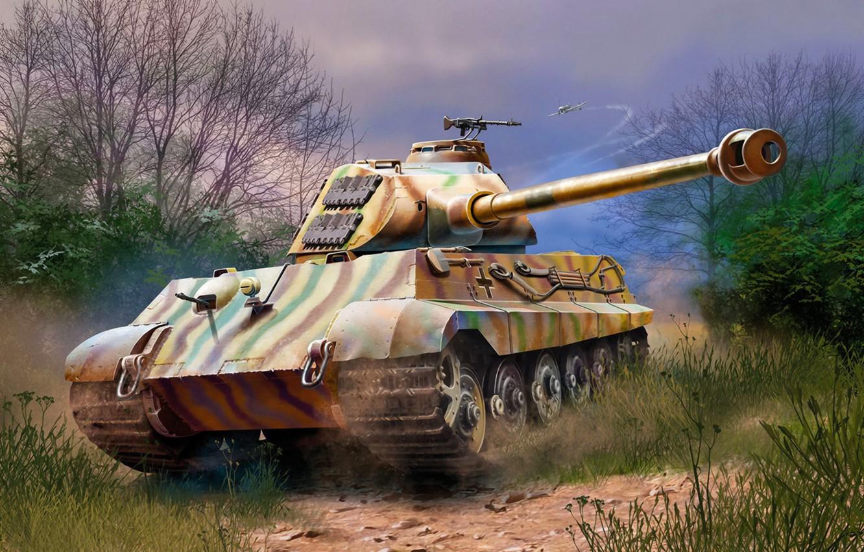 Wallpaper war, art, painting, tank, ww2, TIGER II AUSF B