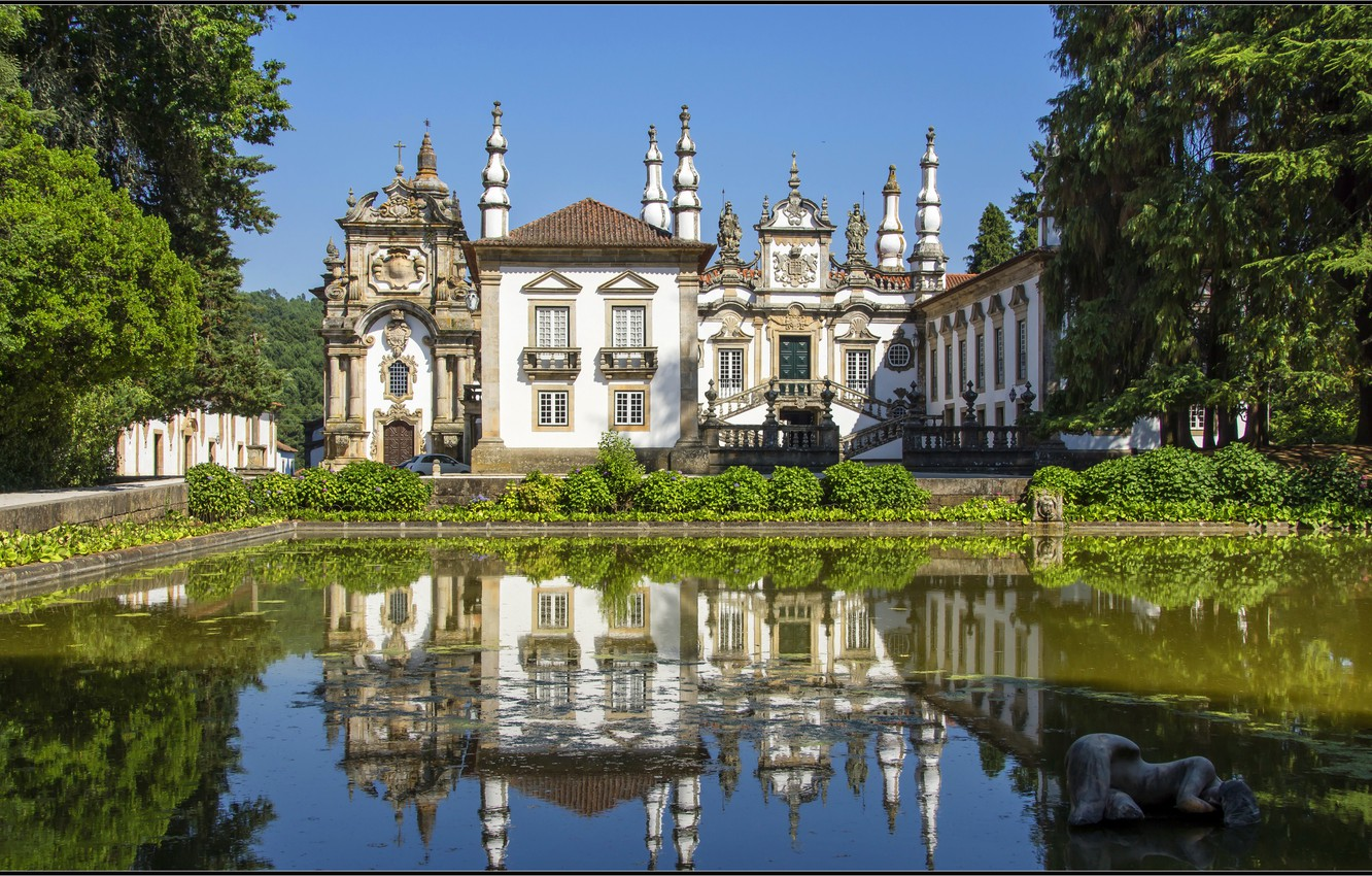 Photo wallpaper greens, water, trees, house, pond, reflection, Portugal, architecture, mansion, the bushes, Portugal, Vila Real, Vila …