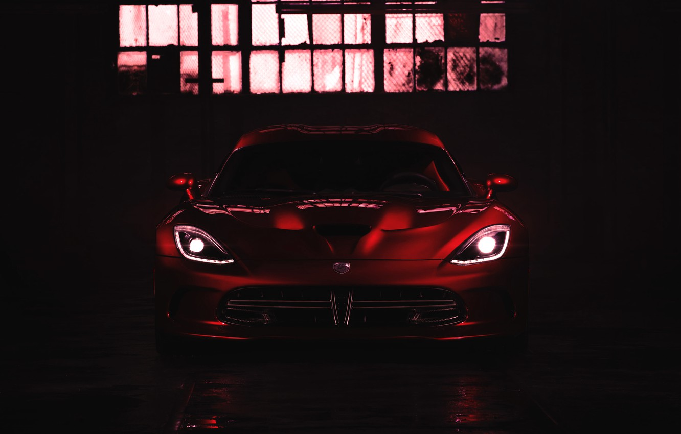 Photo wallpaper Red, Auto, Machine, Dodge, The hood, Dodge, Lights, viper, Supercar, The front, Sports car, The …