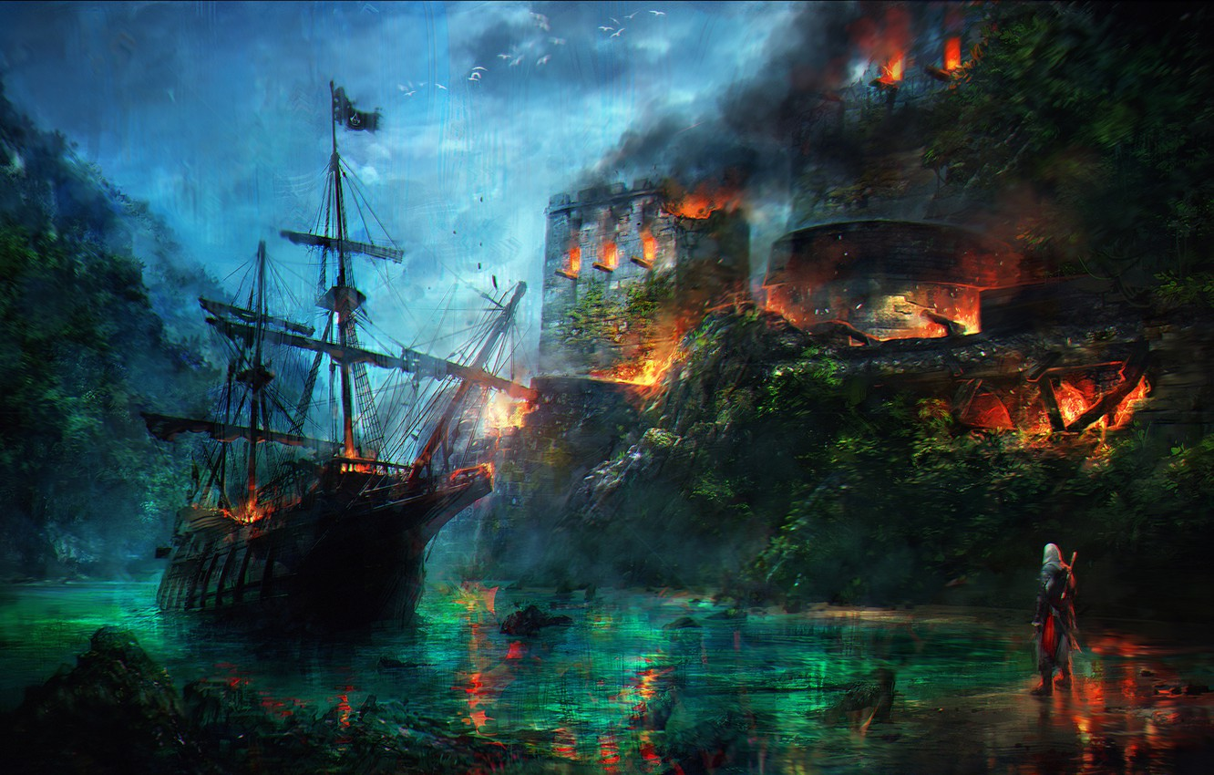 Wallpaper Ship Fortress Burns Assassin Assassin S Creed Black