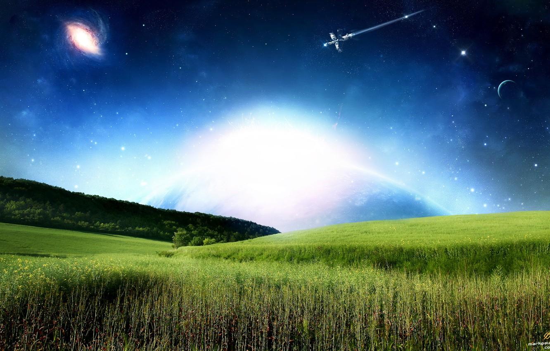 Photo wallpaper grass, satellite, galaxy