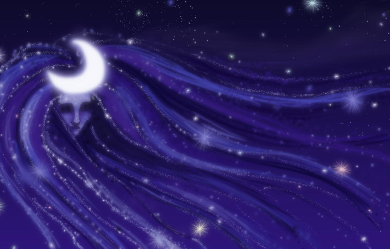 Photo wallpaper the sky, girl, stars, light, night, fiction, the moon