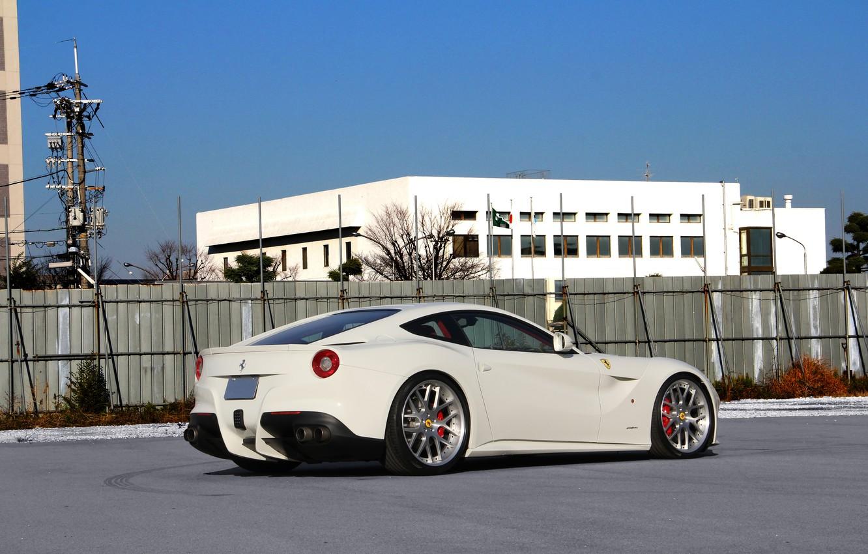 Photo wallpaper white, the sky, white, ferrari, Ferrari, rear view, Berlinetta, f12 berlinetta