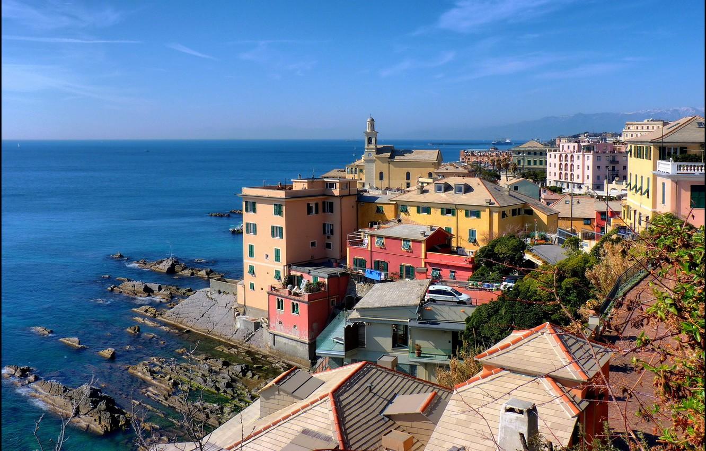 Photo wallpaper sea, the city, stones, photo, home, Italy, Genoa, Liguria