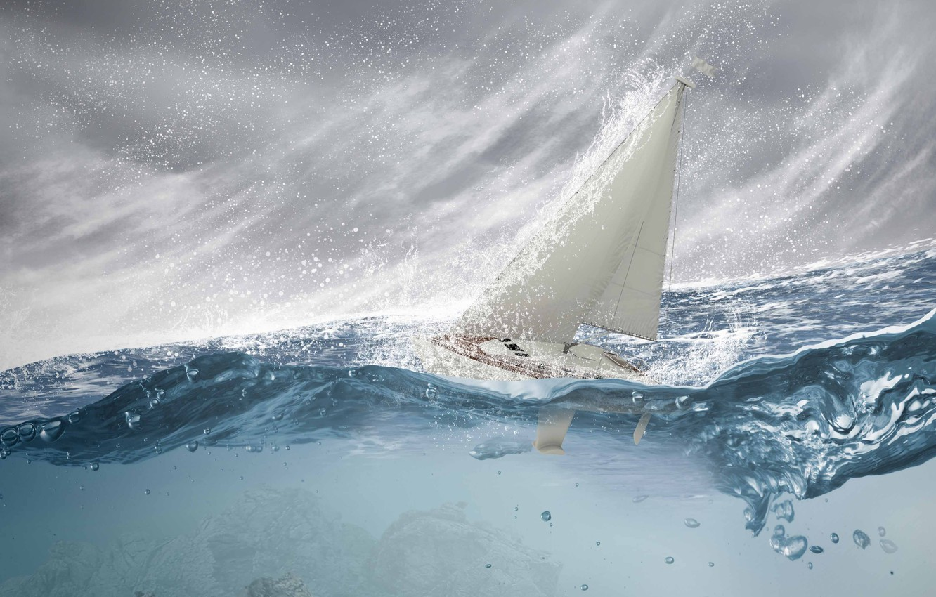 Photo wallpaper sea, wave, squirt, storm, sailboat