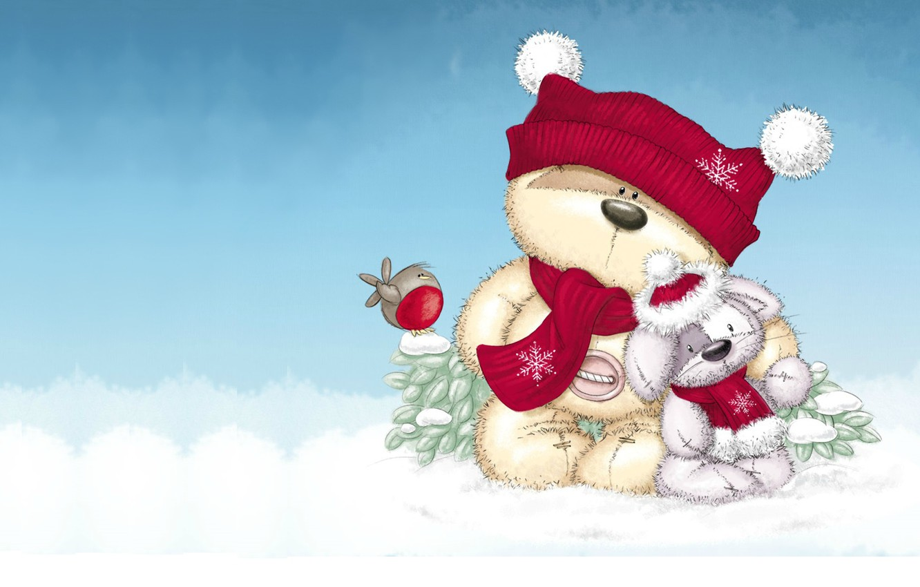 Photo wallpaper winter, snow, mood, gift, toy, bear, New year, bird, Bunny, children's, a celebration
