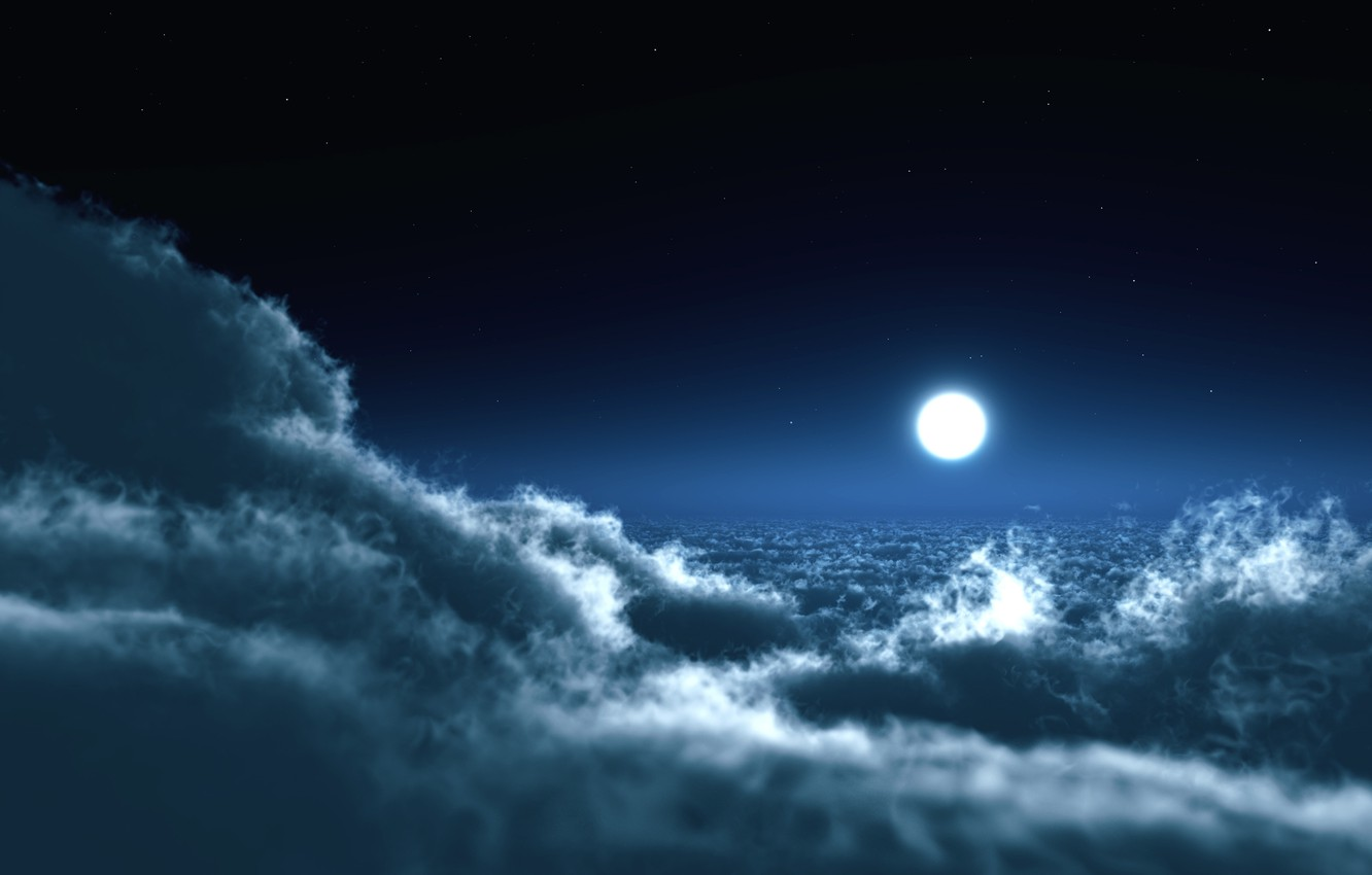 Photo wallpaper the sky, clouds, night, photo, the moon, landscapes