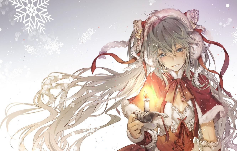 Photo wallpaper winter, girl, tape, holiday, candle, anime, art, vocaloid, hatsune miku, kingchenxi