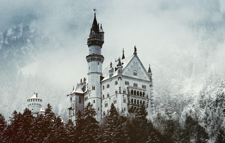 Photo wallpaper winter, forest, snow, castle, tower, Castle
