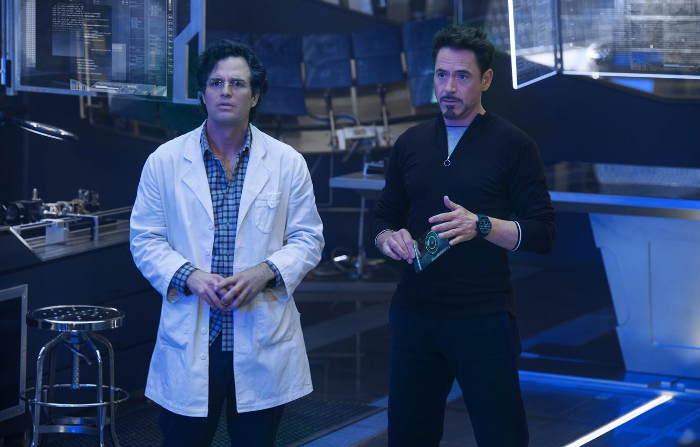 Photo wallpaper frame, Hulk, laboratory, Iron Man, Robert Downey Jr., Robert Downey Jr., Mark Ruffalo, Mark Ruffalo, …