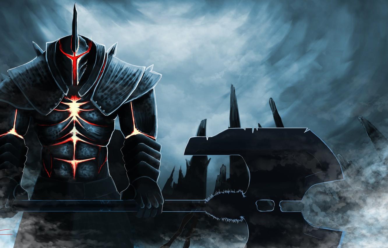 Photo wallpaper clouds, glow, armor, warrior, axe