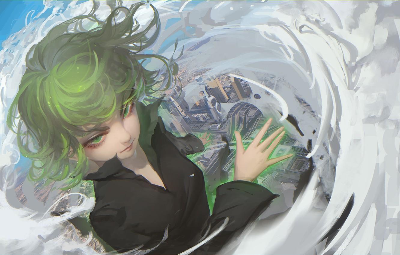 Photo wallpaper girl, the city, home, anime, art, tatsumaki, bing bing, onepunch man