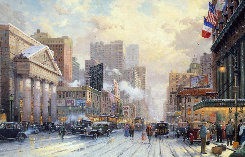 Photo wallpaper winter, snow, machine, city, the city, street, Avenue, home, New York, flag, USA, the hotel, …