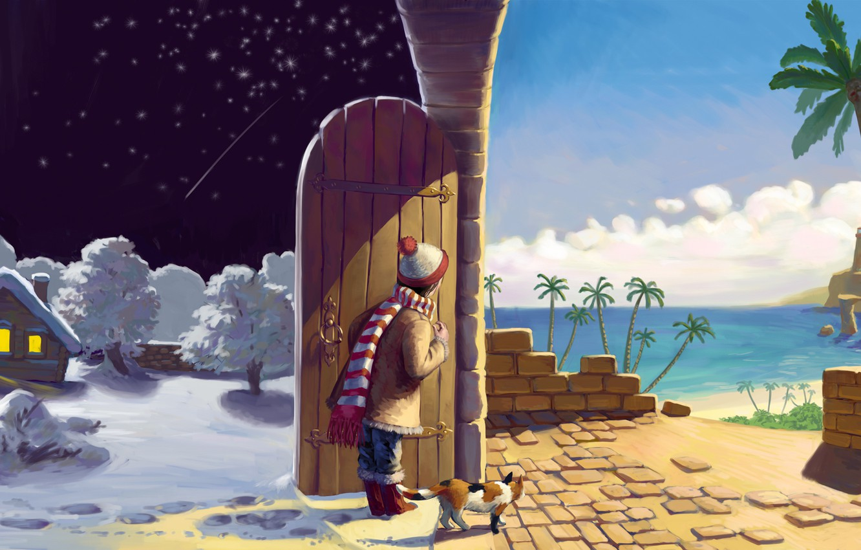 Photo wallpaper winter, sand, sea, cat, summer, cat, stars, clouds, snow, trees, night, lights, house, palm trees, …