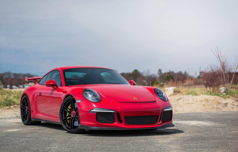 Photo wallpaper Porsche, Red, Black, GT3, Wheels, 991