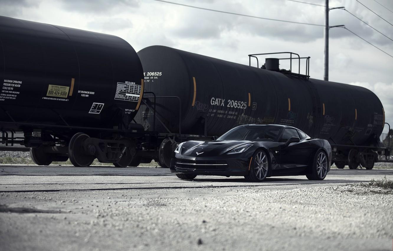 Photo wallpaper the sky, clouds, reflection, Corvette, Chevrolet, Chevrolet, black, front view, Stingray, Corvette