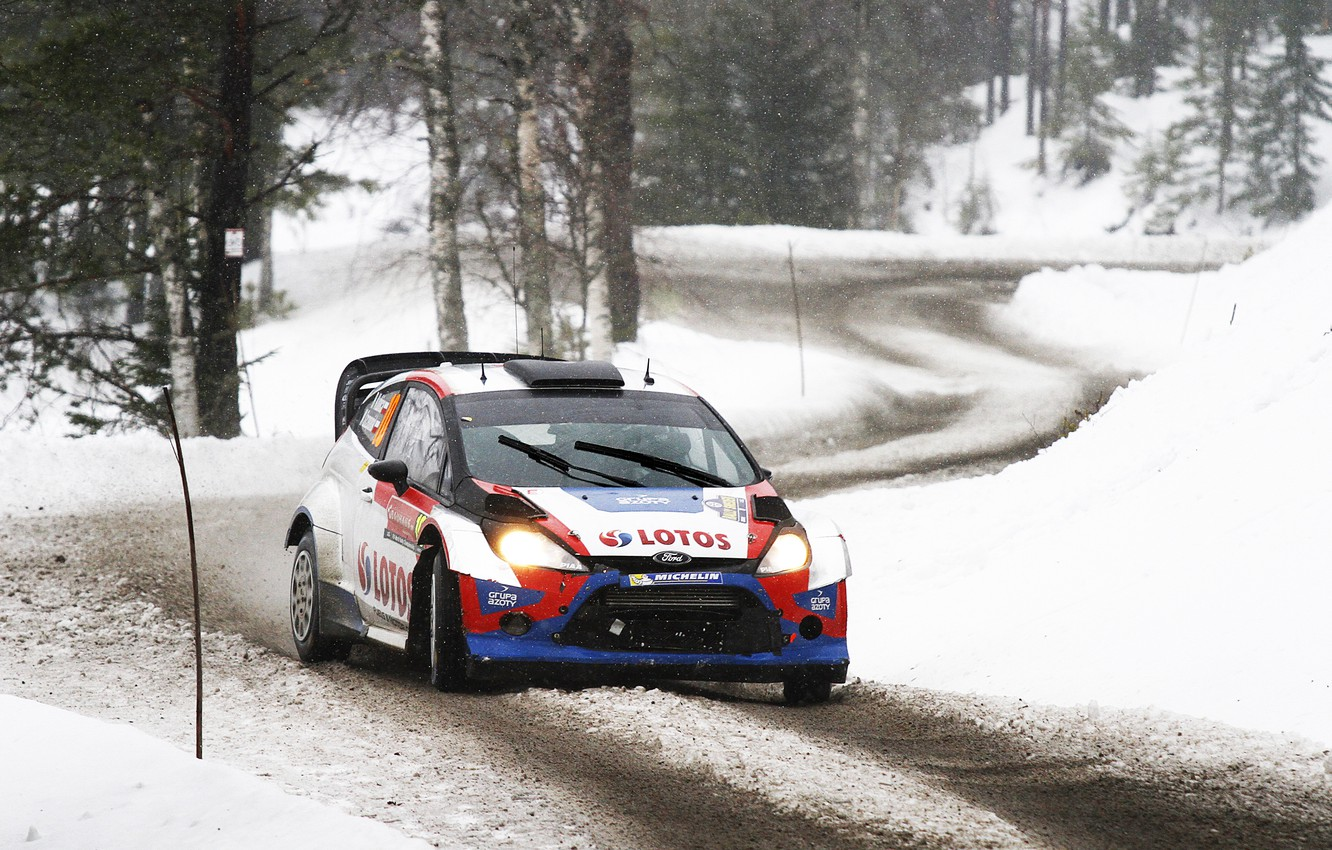 Photo wallpaper Ford, Winter, Auto, Snow, Forest, Sport, Ford, Race, WRC, Rally, Rally, Fiesta