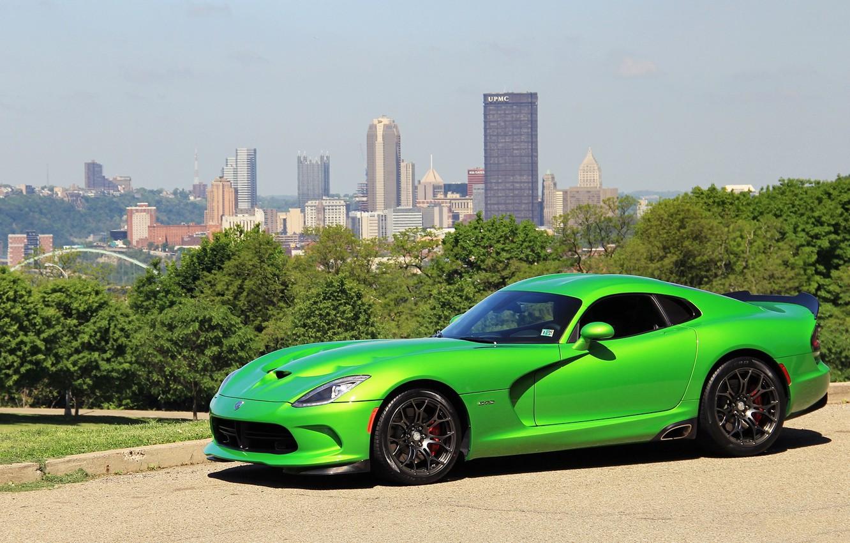 Photo wallpaper green, viper, dodge, gts