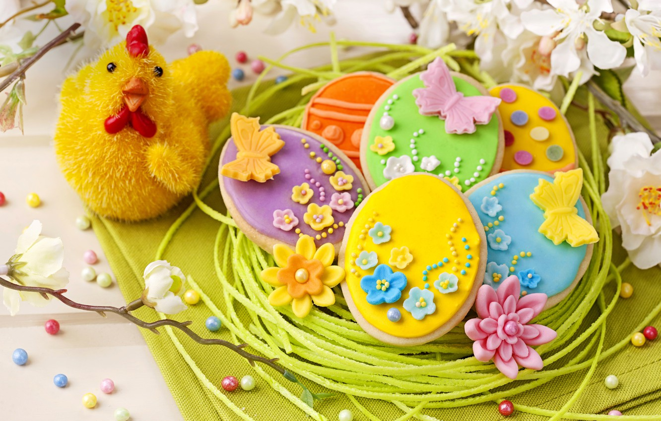 Photo wallpaper holiday, spring, colorful, cookies, Easter, flowers, sweet, glaze, spring, eggs, holiday, easter, cookies, decoration, pastel, …
