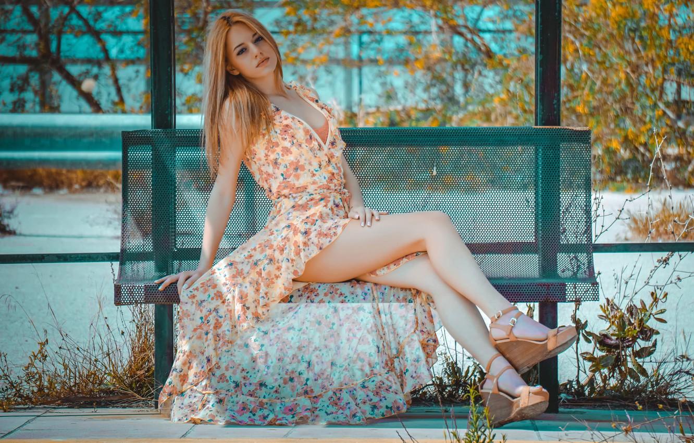 Photo wallpaper dress, neckline, legs