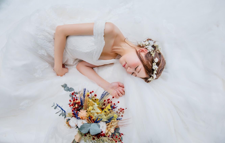 Photo wallpaper girl, bouquet, dress, the bride