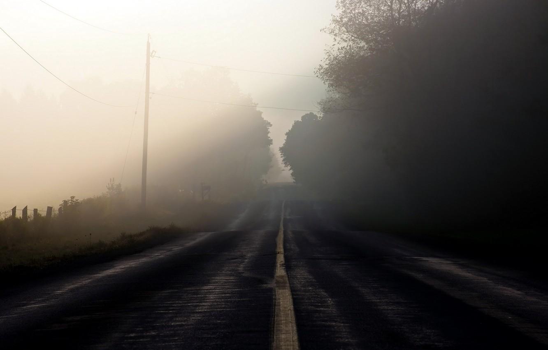 Photo wallpaper road, landscape, fog, morning
