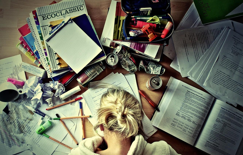 Photo wallpaper girl, books, coffee, handle, pencil, notebook, Study