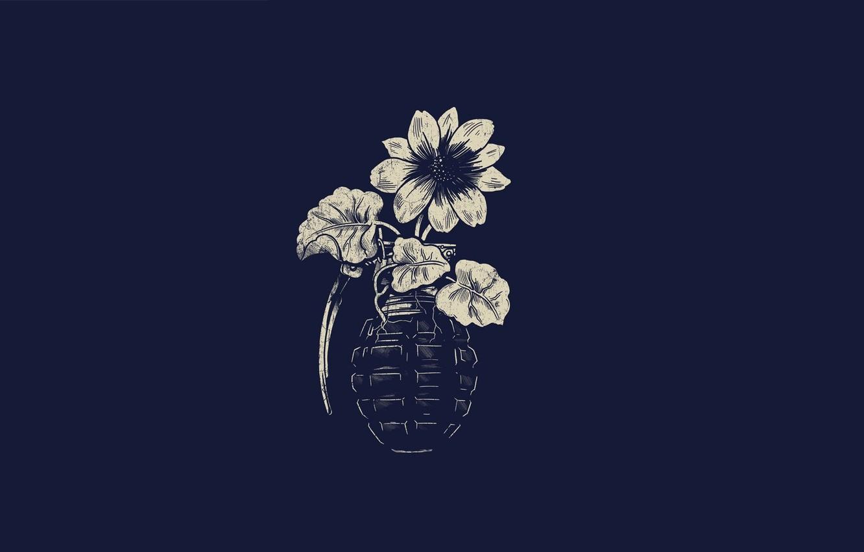 Photo wallpaper Minimalism, Flower, Art, Art, Pomegranate