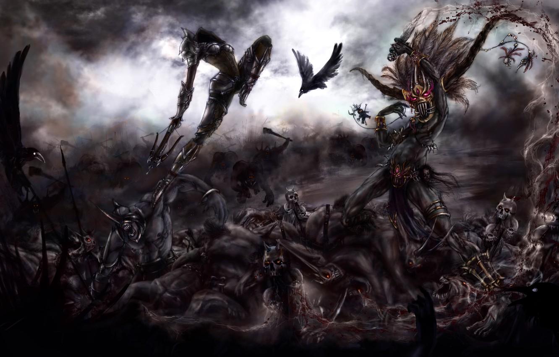 Photo wallpaper art, crows, battle, demons, hunter, the sorcerer, diablo 3, demons