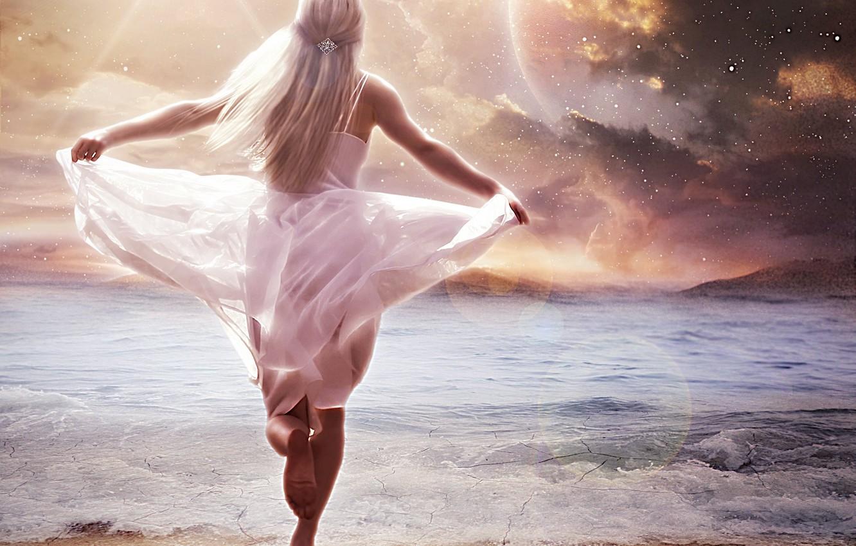 Photo wallpaper sand, sea, wave, beach, the sky, girl, stars, fiction, hair, back, hands, art, blonde, runs, …